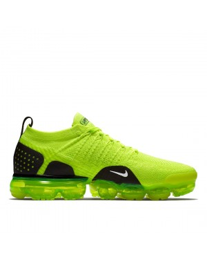942842-700 Nike Air Vapormax Flyknit 2 Scarpe - Volt/Nere/Bianche