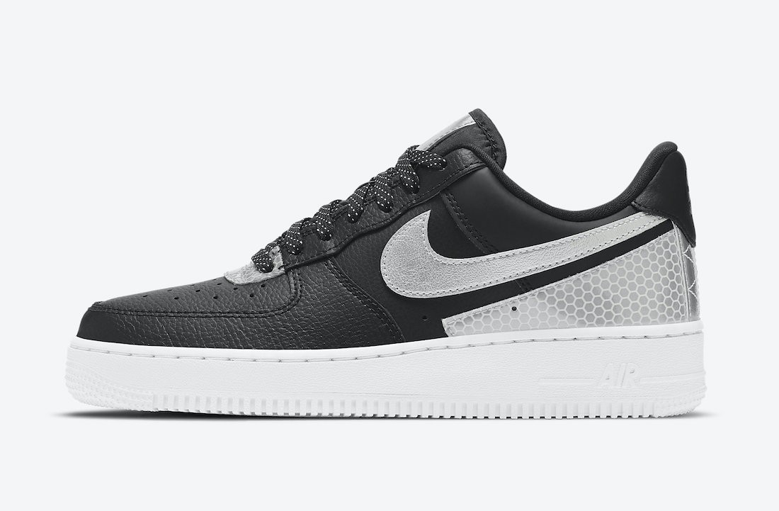 CT1992-001 3M x Nike Air Force 1 Low - Nere/Argento-Metallic Silver