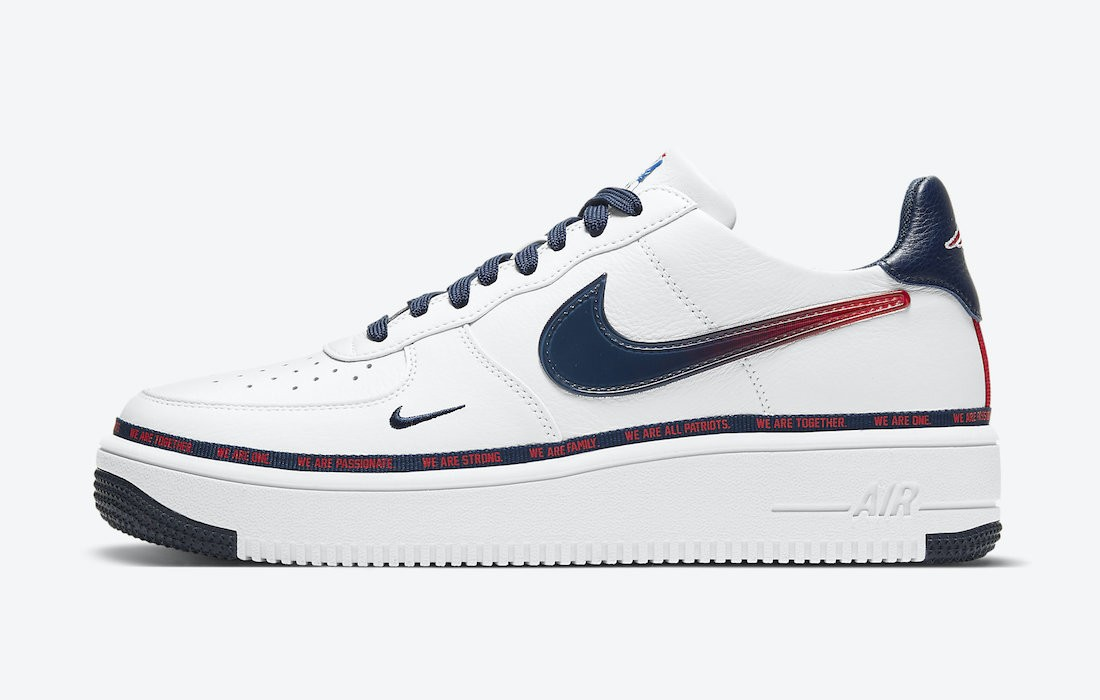 """DB6316-100 Nike Air Force 1 Ultraforce """"New England Patriots"""" - Bianche/Rosse-Navy"""