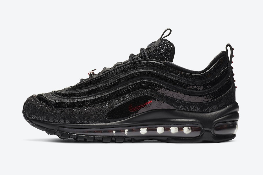 "DC1709-060 Nike Air Max 97 ""Black Sequin"" - Nere/Metallic Rosse"