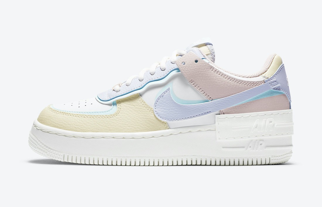CI0919-106 Nike Donne Air Force 1 Shadow - Bianche/Blu-Fossil-Ghost