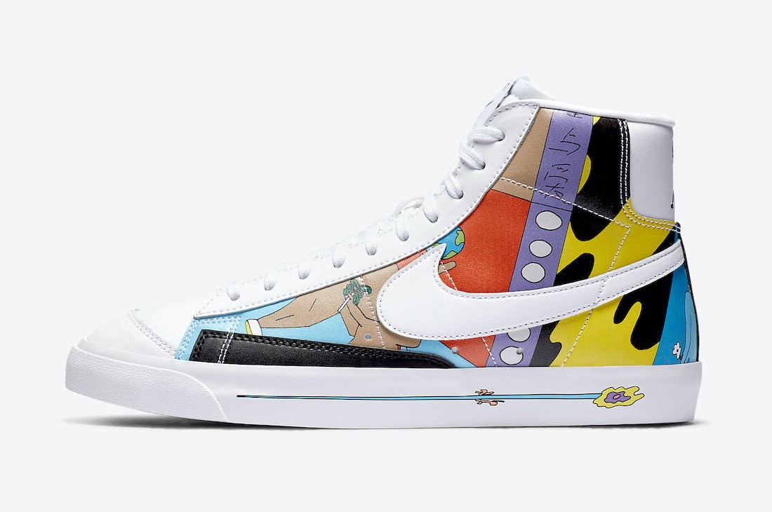 CZ3775-900 Ruohan Wang x Nike Blazer Mid '77 Flyleather - Bianche/Multicolor