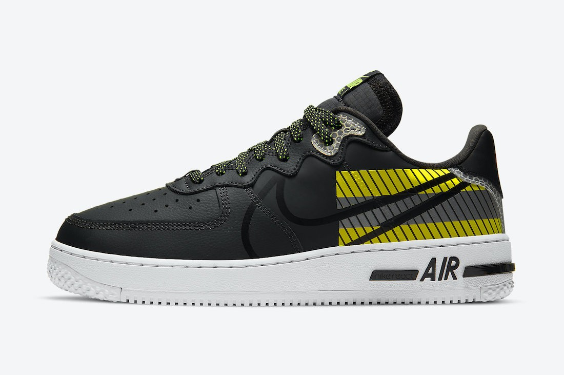 CT3316-003 3M x Nike Air Force 1 React D/MS/X Uomo - Anthracite/Nere-Volt-Rosse