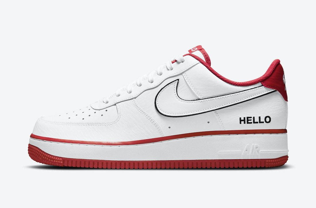 """CZ0327-100 Nike Air Force 1 Low """"Hello"""" - Bianche/Bianche-Rosse-Nere"""