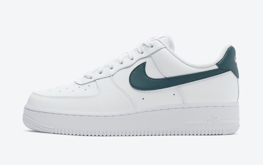 315115-163 Nike Donne Air Force 1 Low - Bianche/Dark Teal Verdi-Sunset Pulse-Bianche