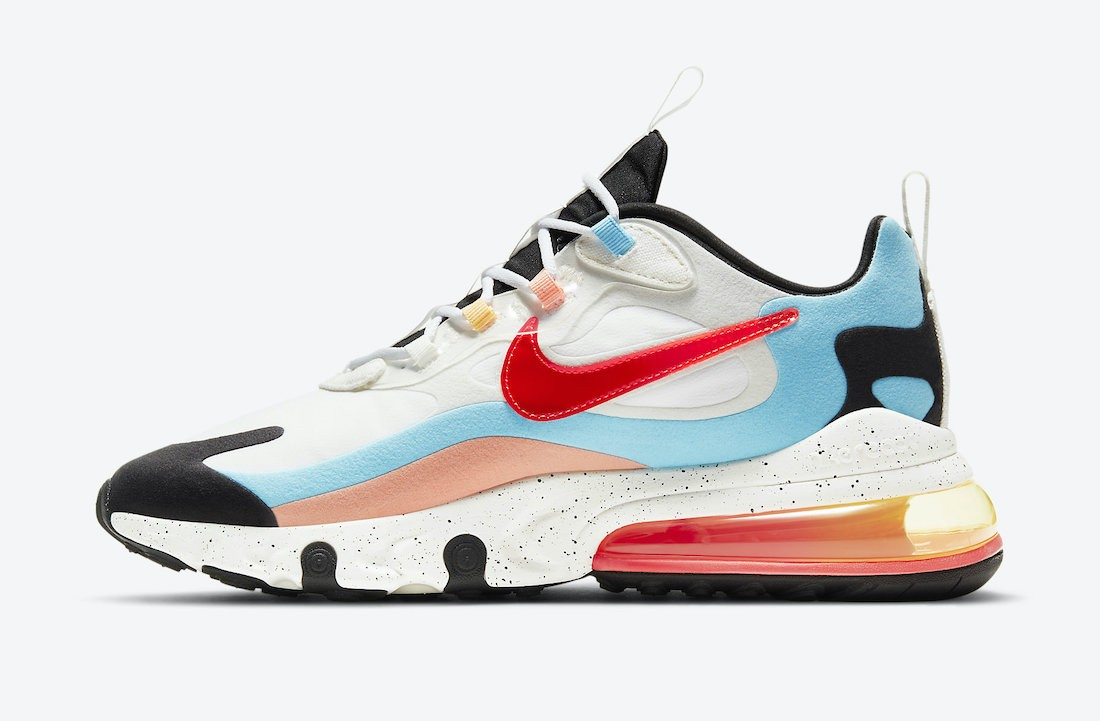 """DD8498-161 Nike Air Max 270 React """"The Future is in the Air"""" - Bianche/Infrared"""