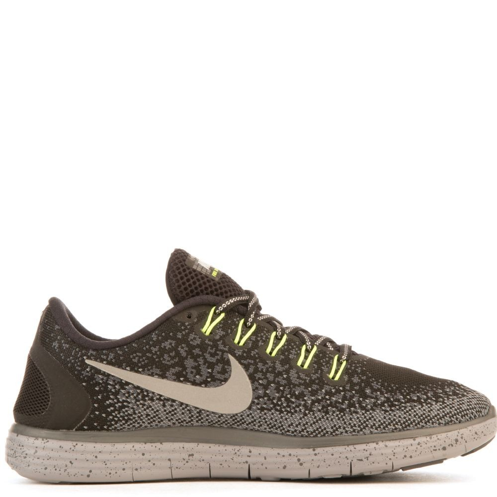 849661-001 Donne Nike Free Run Distance Shield - Nere/Argento/Verdi