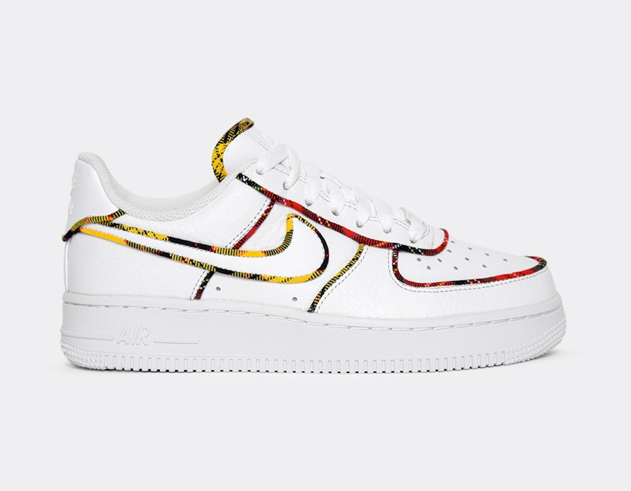 AV8218-100 Nike Donne Air Force 1 Low - Bianche/Rosse-Amarillo