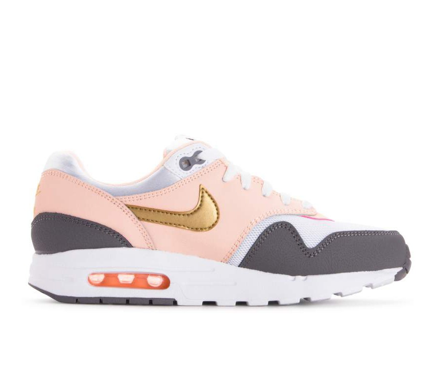 807605-104 Nike Air Max 1 GS Scarpe - Bianche/Metallic Gold/Gunsmoke
