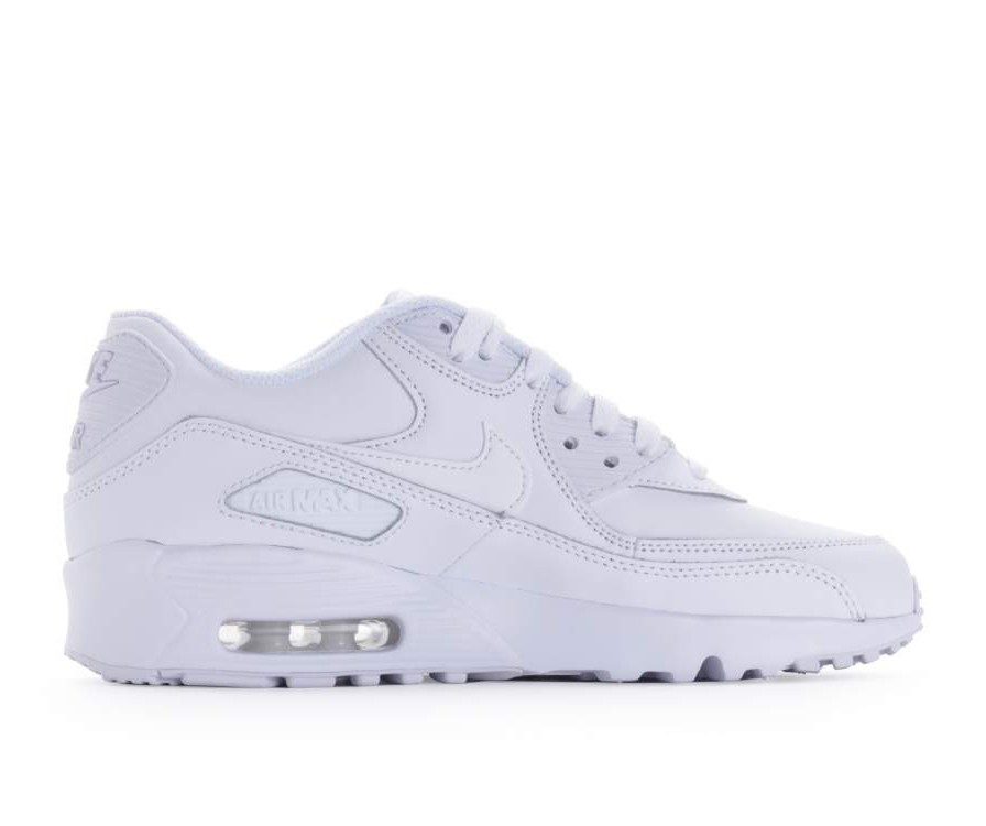 833412-100 Nike Air Max 90 Leather GS Scarpe - Bianche/Bianche