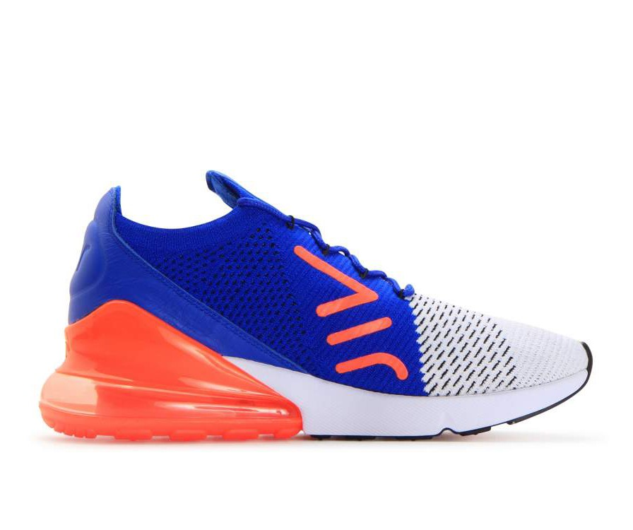 AO1023-101 Nike Air Max 270 Flyknit - Bianche/Nere/Blu/Total Crimson