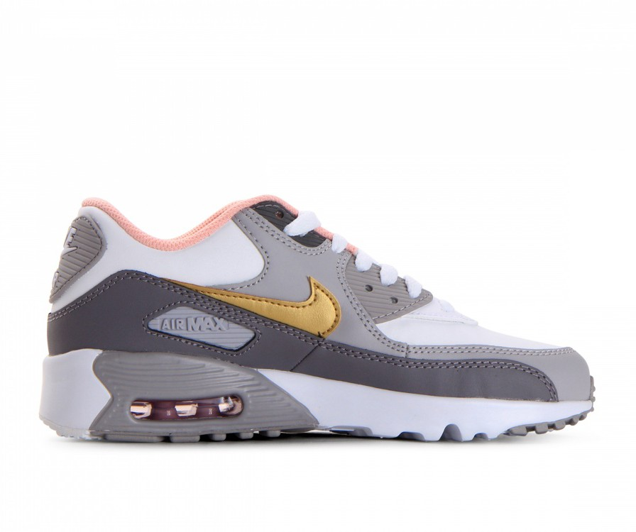 833376-011 Nike Air Max 90 Leather GS - Gunsmoke/Metallic Gold/Grigio