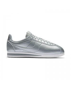 Nike Donne Classic Cortez Leather Metallic Silver/Argento 807471-003