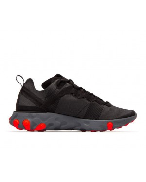 BQ2728-002 Nike Donne React Element 55 - Nere/Rosse-Grigio-Grigio scuro